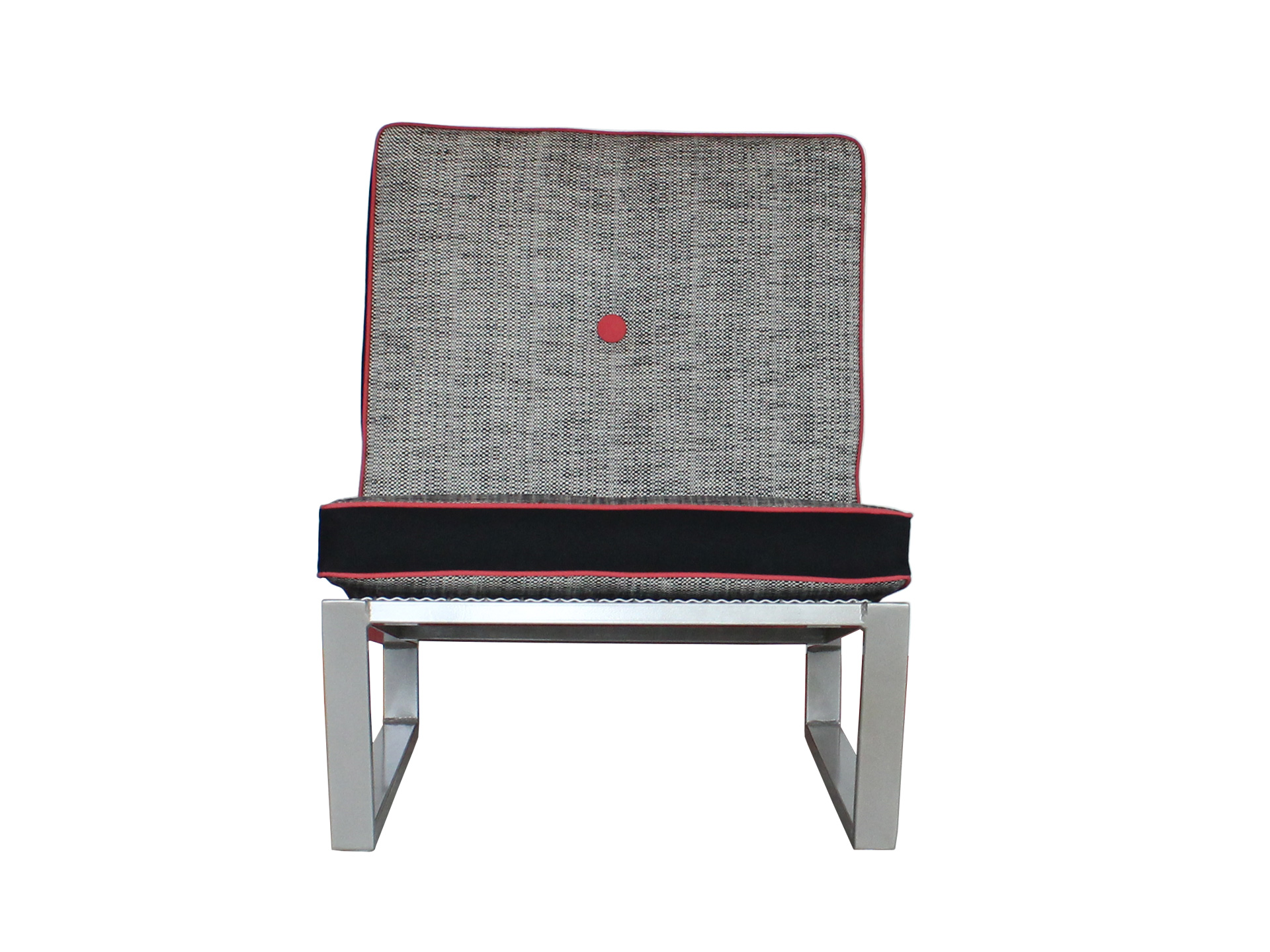 Del Calle chair in black, white, and grey from the front