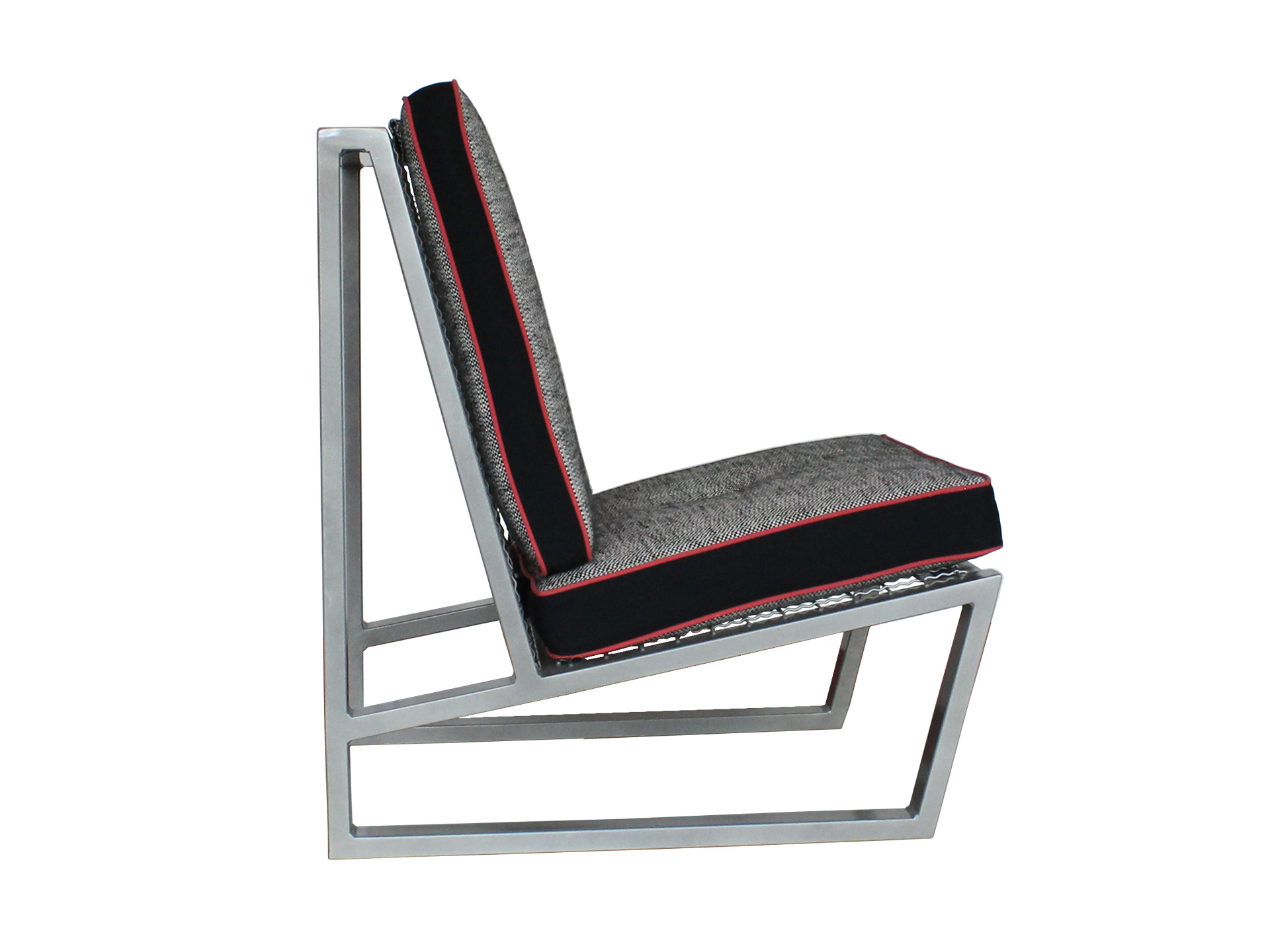 Del Calle chair in black, white, and grey from the side