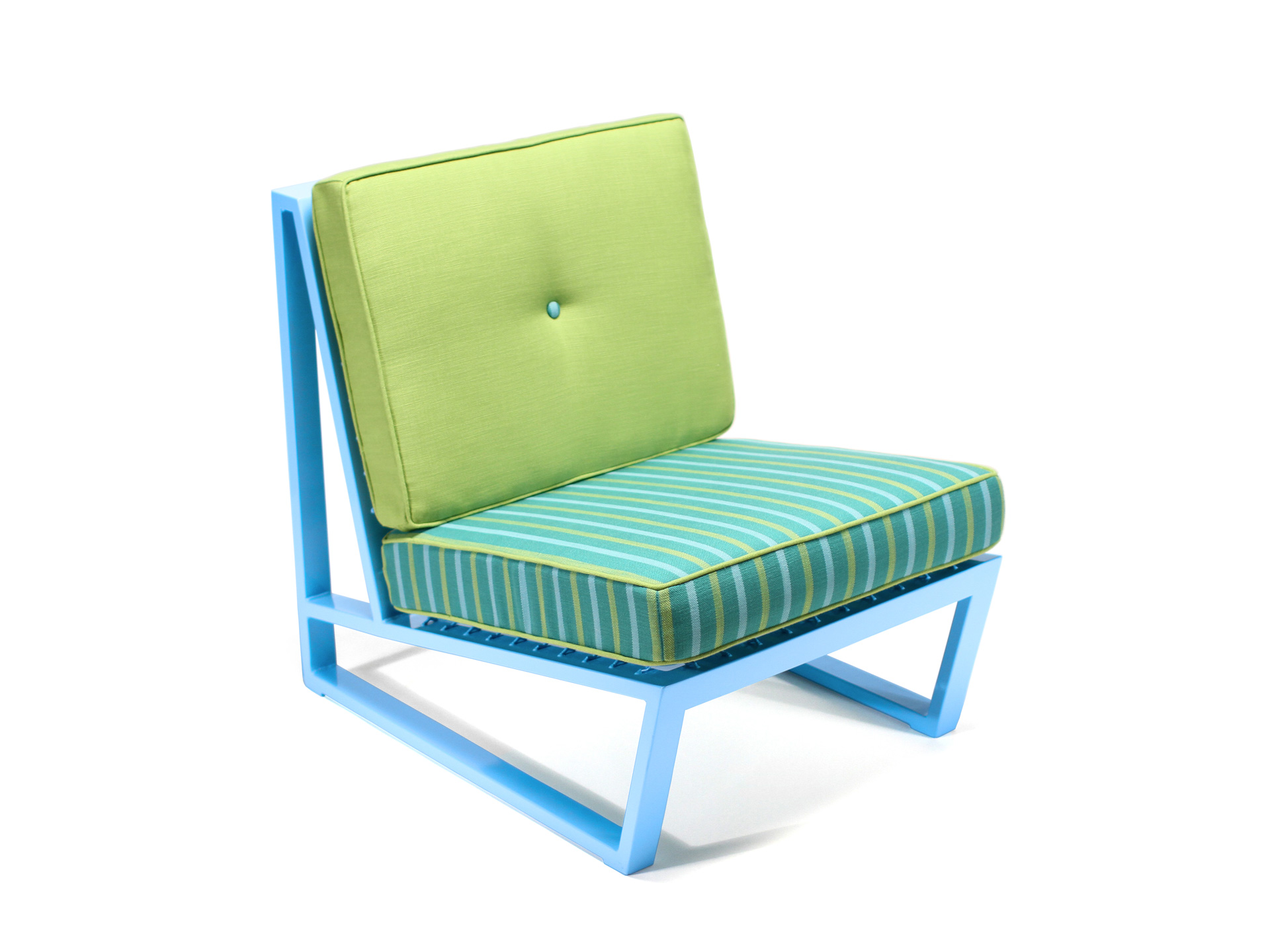 Del Calle chair with green and blue finish and fabric