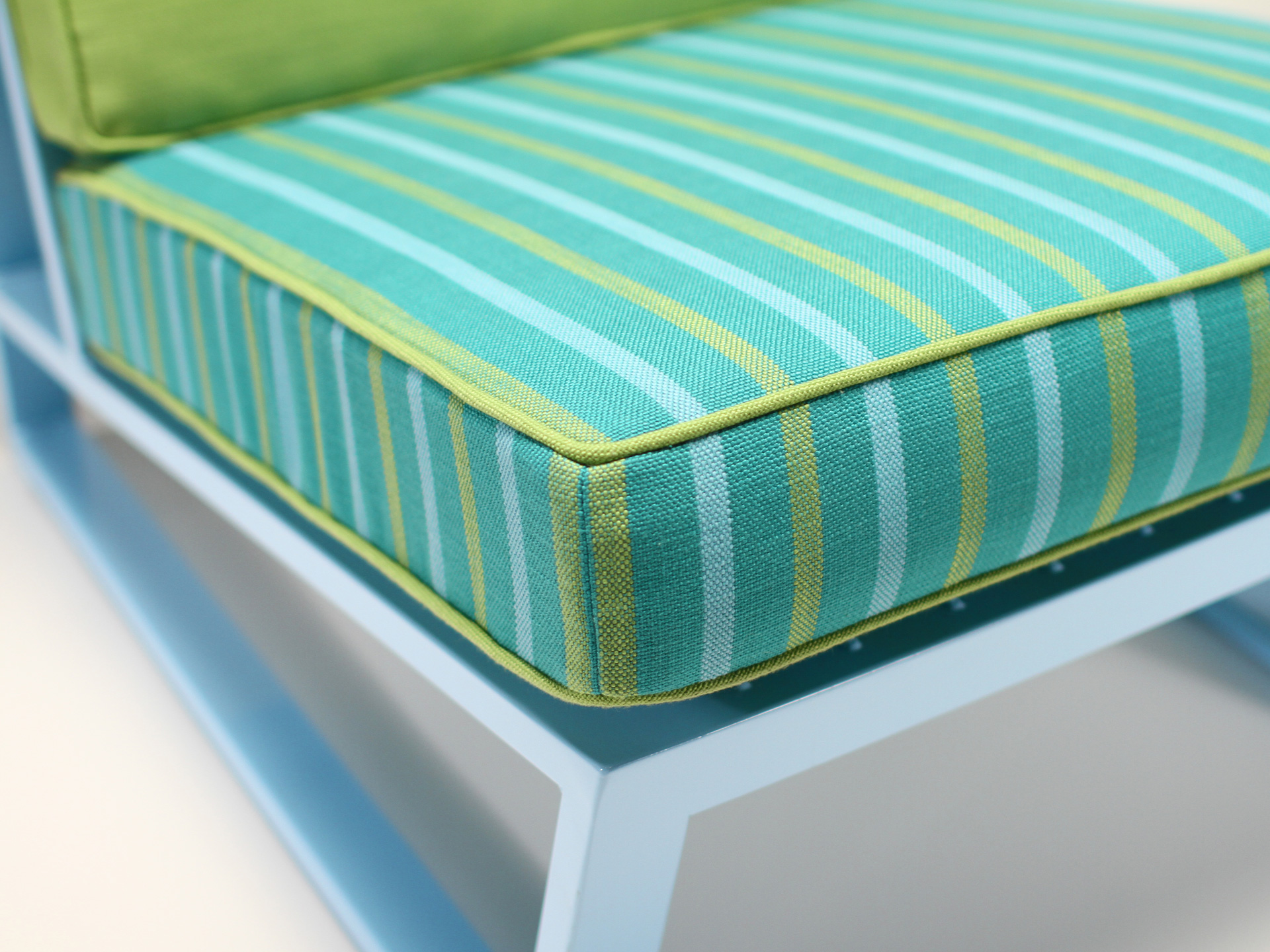 Detail of Del Calle chair cushion and front